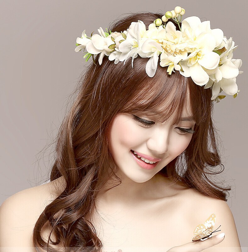 New Women Wedding Rose Flower Wreath headband Kids Party Floral garlands with Ribbon Adjustable flower crown Hair Accessories(China (Mainland))