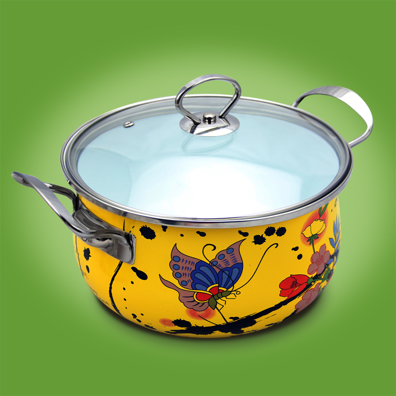 24cm soup enamel sauceboxes thickening general gift stainless steel cooking pot hot sets cookware Porcelain Enameled Yellow(China (Mainland))