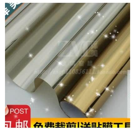 Silver tint one-way mirror face stickers shading green balcony bask sun room insulation color film bag mail1388(China (Mainland))