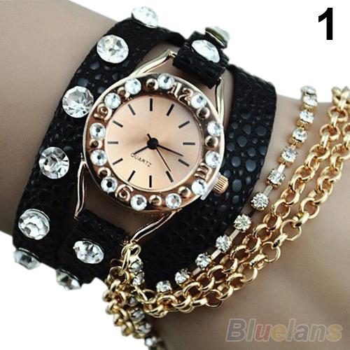 Candy Women's Hawaiian Sparkling Rhinestone Long Leather Sling Chain Quartz Wrist Watch cristmas dress Gift 1OCG - BlueSky- store