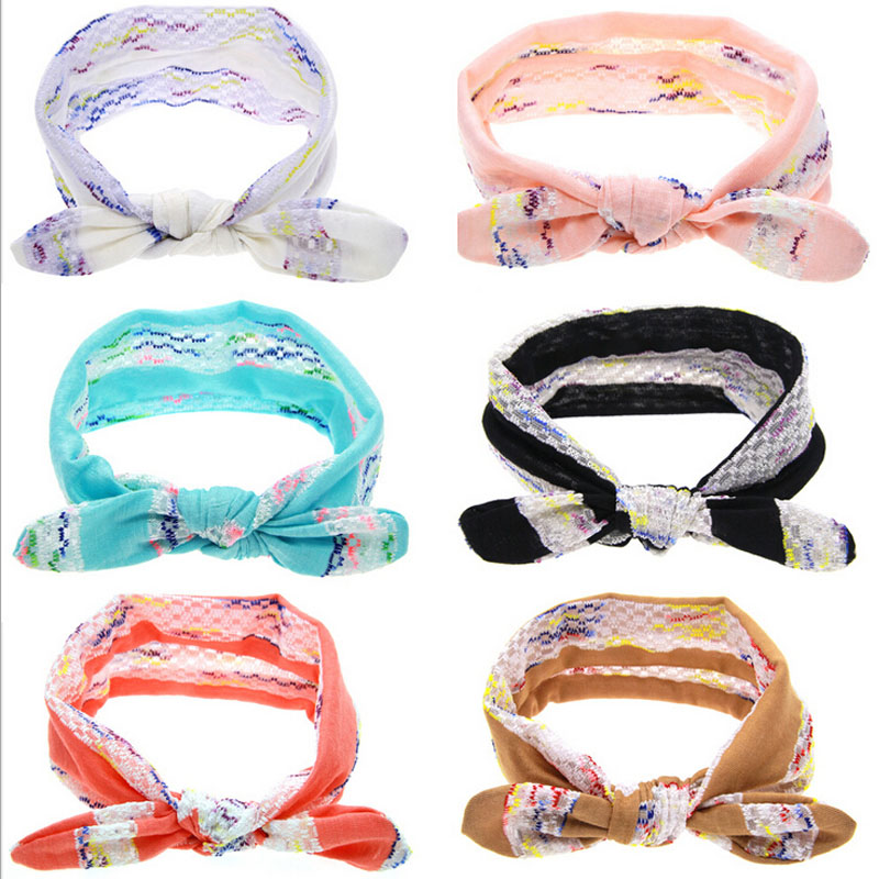 Lace Ear Baby Headbands ElasticKnot Tie Headwrap Fashion Soft Toddler Bow Knot Headband Hair Accessories w278(China (Mainland))