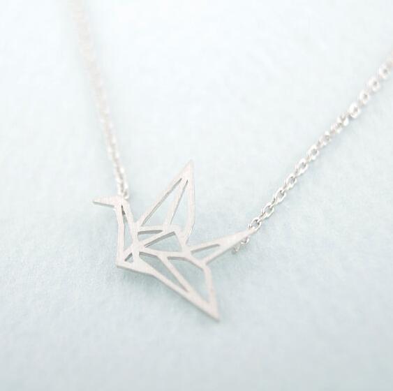 Hot Cake 10pcs Gold Silver Origami Crane Necklace Long Necklace Animal bird crane Pendant Jewelry Fashion for women 2015(China (Mainland))