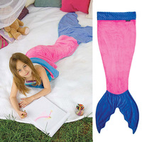 2016 New Flannel Cozy Fleece Double-layer Mermaid Tail Blanket Sleeping Bag Youth Size Age 3-12 Year Old Kids Pink Blue Green