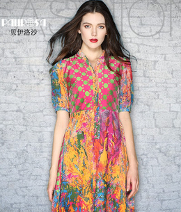 New Sale 2014 Womens Clothing Summer Fashion Long dot Dress Bohemian print chiffon  Flower Dresses S-XXLОдежда и ак�е��уары<br><br><br>Aliexpress