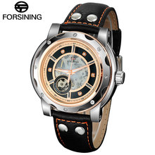 2016 FORSINING luxury sport Watches men male fashion casual Skeleton Mechanical automatic Leather Wristwatches relogio masculino
