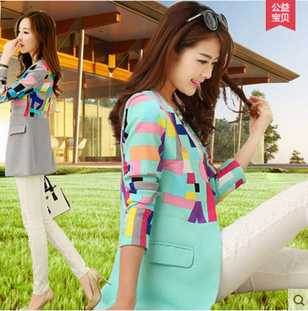 Green/Grey Women'S Spring Autumn Slim V-Neck Small Suit Jacket Long Sleeves Patchwork Single Button Long Blazers Suits 2Xl J136(China (Mainland))