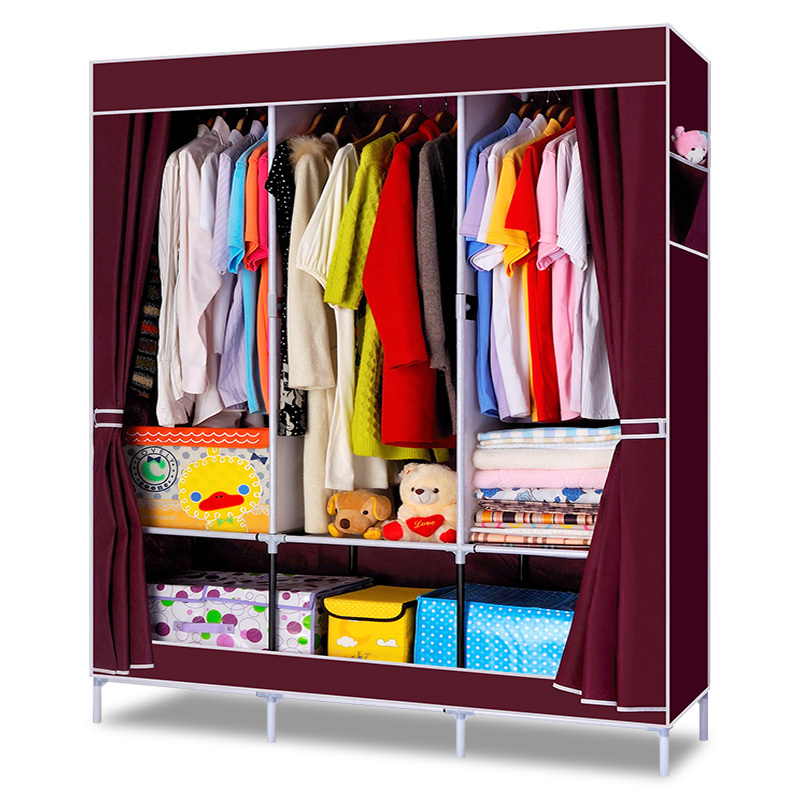Simple Bedroom Clothes Wardrobe Combination Non Woven Fabric Large Capacity Bedroom Furniture