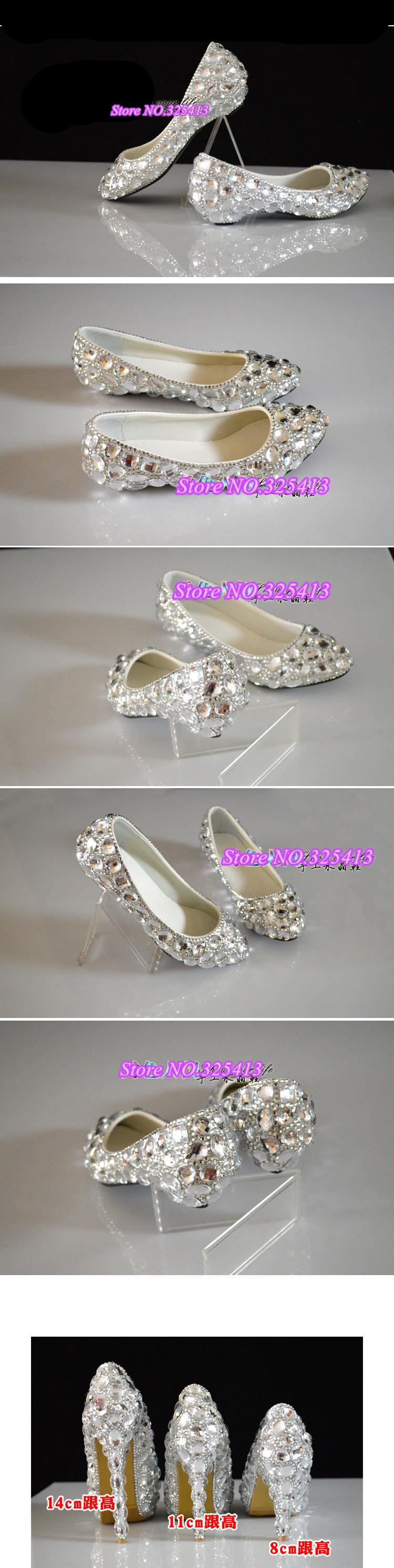 white rhinestone wedges wedding shoes bridal dress shoes shallow mouth shoes big plus size 35-44