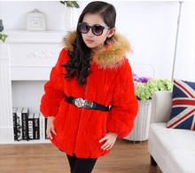 The new 2015 children fur hats, coats High-end children's wear Girls in the otter rabbit hair long coat winter clothing