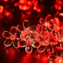 Christmas Lights Outdoor 21ft 50 LED Solar String Lights Flower Garden Light Blossom Lighting for Home Wedding Party Decoration(China (Mainland))