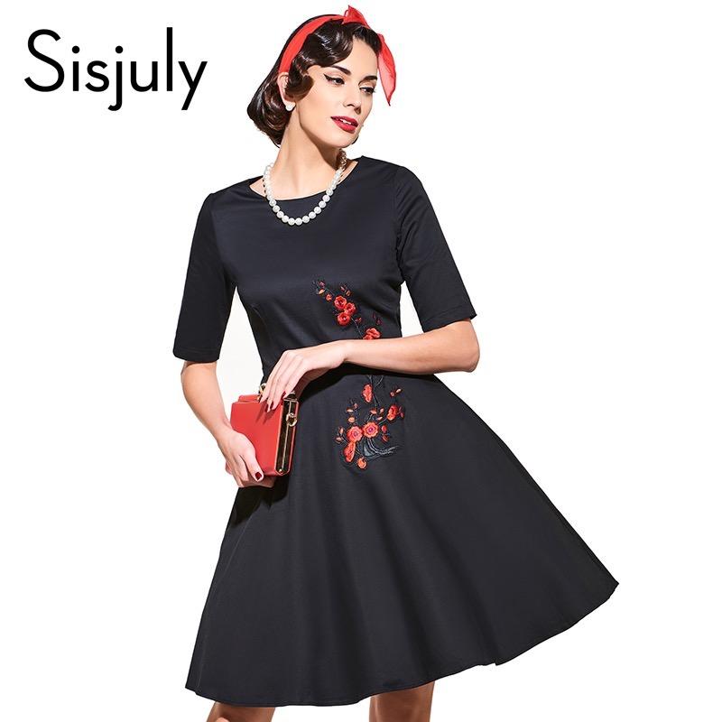 Sisjuly vintage dress black white floral print dress flower 2017 fashion autumn dresses vestido de festa black women dresses