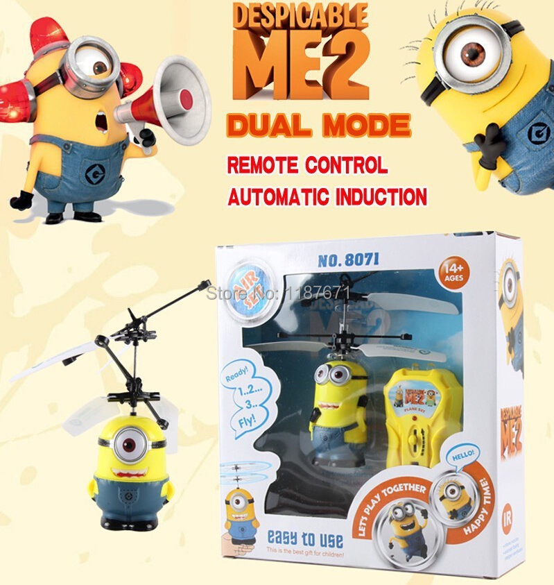 Mini RC Helicopter Despicable Me 2 Sensor Flying Minion Shatter Resistant Remote Control Aircraft 2 Ch RC Helicoptero Kids Toys(China (Mainland))