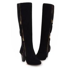 REAVE KEDI Artı boyutu 34-43 Kadın çizmeler diz yüksek Kalın Topuk çizme Sapatos femininos Akın fermuar Yuvarlak Ayak botas Ayakkabı kadın A1291(China)