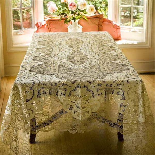 """linen embroidery venice lace tablecloth bed cover white 72x108"""" handmade needle table linen placemat home decorative(China (Mainland))"""