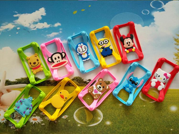 New Universal Silicone Frame bumper 3D Cartoon Minnie Kitty Stitch Dora Mobile Phone Bumper For For Nokia 700 N700 Cover Case(China (Mainland))
