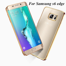 original case for samsung galaxy s6 edge s 6 g925 by rose gold plating tpu transparent ultra slim clear soft fashion phone cover