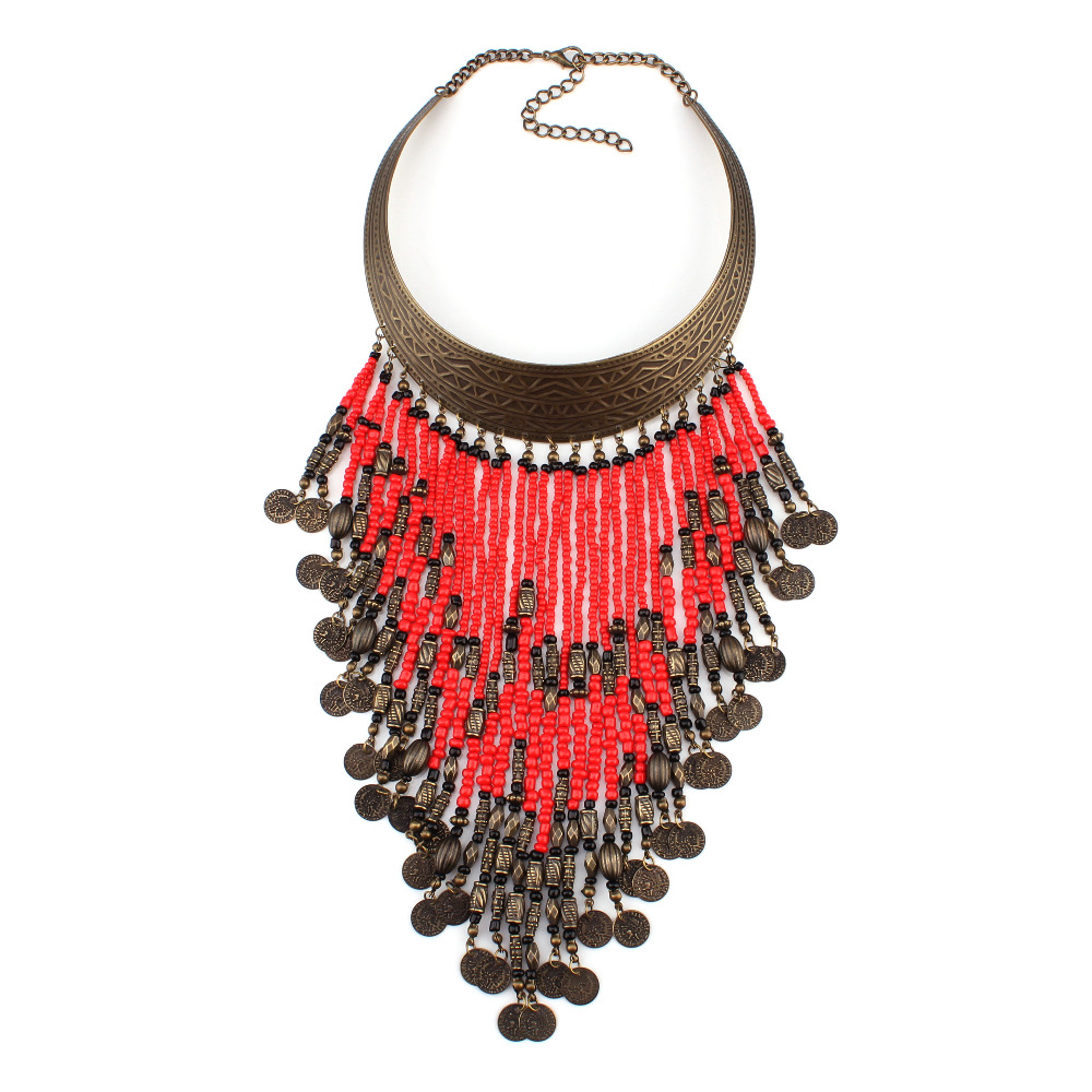 fashion 2016 new arrival spring vintage ethnic alloy chunky bead pendant choker statement necklace for women jewelry wholesale(China (Mainland))