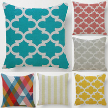 Yellow Grey Nordic Geometric Style Cushion Cover