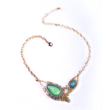 Fashion Major Suit Green Water Drops Gems Banquet Jewlery Women Asymmetric Necklace Factory Wholesale