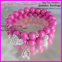 10pcs/lot  High Quality Pink AGATE Bead Bracelet Pink Rhinestone Breast Cancer sign and Heart Pendant Charm Women Bracelet 10mm(China (Mainland))