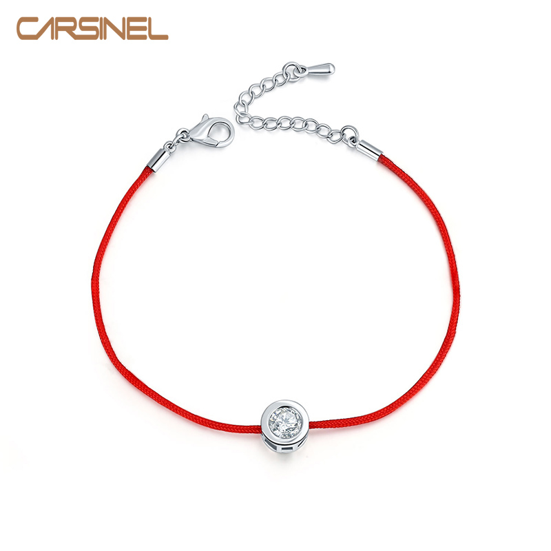 Fashion Thin Red Cord Thread String Rope Chain with CZ Zirconia Silver color Bracelet 16+5cm Length for Female Jewelry BR0123(China (Mainland))