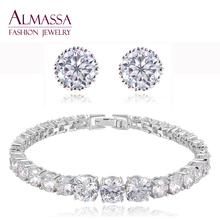 Exquisite Cut Various Size Round Shape AAA+ Cubic Zirconia Diamond Jewelry Set Fashion Women Earring & Bracelet Wedding Jewelry(China (Mainland))