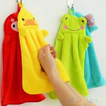 Nursery Hand Towel Soft Plush Fabric Cartoon Animal Hanging Wipe Bathing Towel  1QDU 32MO(China (Mainland))