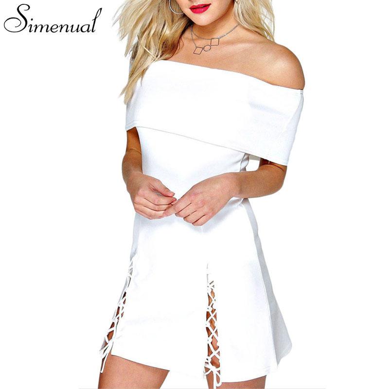 Off shoulder lace up summer dress 2016 slash neck sexy hot solid slim mini short bandage dress ladieswear 3 colors club dresses(China (Mainland))