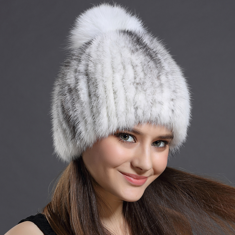 Winter Hat Women Fall Fashion Russian Hat Mink Fur With ball Caps Hairball Hats Warm Ear Protection Wool Adult Solid Hat(China (Mainland))