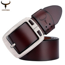 COWATHER 100% cowhide genuine leather belts for men brand Strap male pin buckle fancy vintage jeans cintos XF001 freeshipping(China (Mainland))