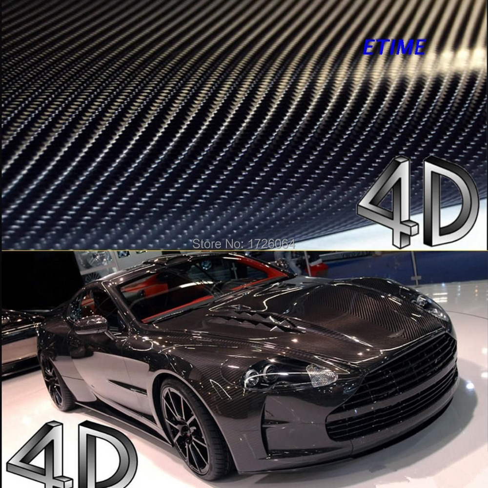 100mmX1520mm 4D Carbon Fiber Vinyl Film 3M Car Sticker Waterproof DIY Car Styling Wrap With Retail packaging Free Shipping(China (Mainland))