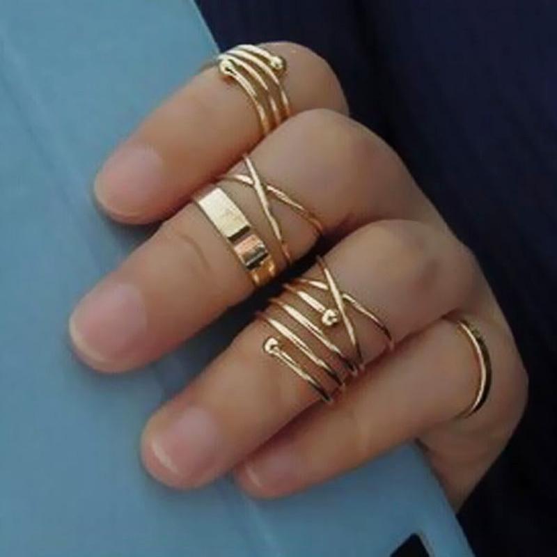 Fashion Adjustable Men Ring Set Basic Cross Spiral Metallic Ring Six Pieces Golden New 2016 Free Shipping(China (Mainland))