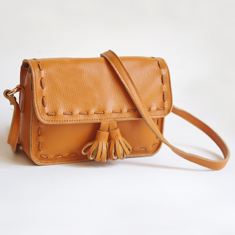Retro leather small square bag high quality fashion handbags fringed shoulder diagonal package Free Shipping