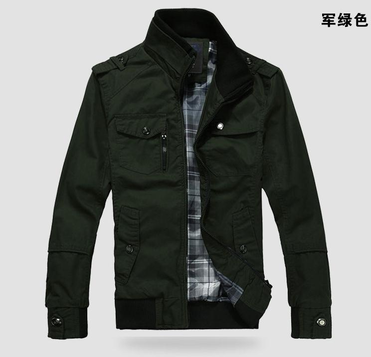 Free shipping Hot! Men's clothing military outerwear male stand collar casual clothes outerwear jacket Army Green autumn clothes