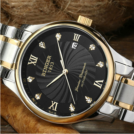 BINGER authentic brand men's automatic mechanical watch hollow out 100 m waterproof business stainless steel watch(China (Mainland))