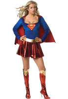 Plus Size Supergirl Costume with Stocking  Halloween Costume for Women Carnival Cosplay Sexy Adult Girl Dress
