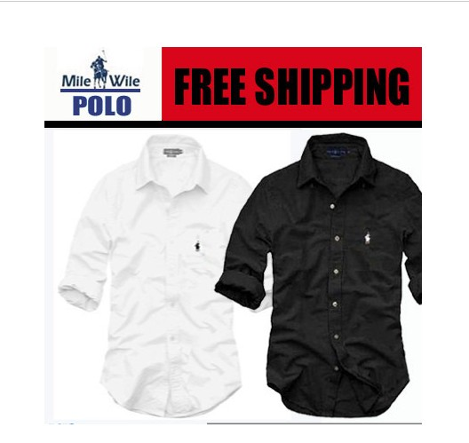 Free shipping comfortable size loose long-sleeved shirt men shirt solid color real men, black and white shirt S-XXL