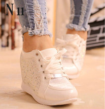 Black White Free Shipping Hidden Wedge Heels Fashion Women's Elevator Shoes Casual Shoes For Women wedge heel Rhinestone 2016(China (Mainland))