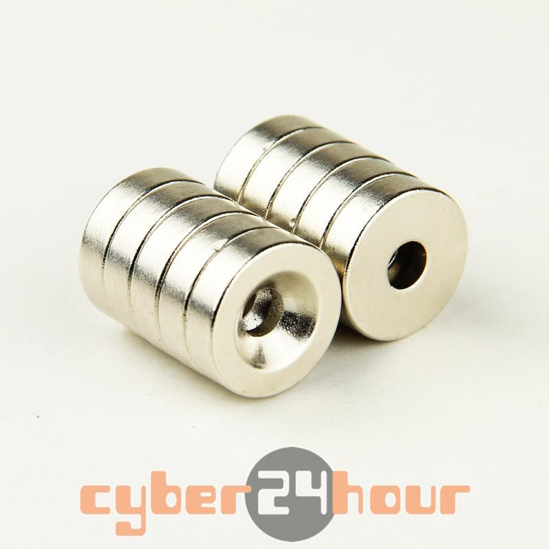 Гаджет  Lot 20pcs Strong Counter Sunk Ring Magnet 18 x 5mm Hole 5mm Rare Earth Neodymium  None Строительство и Недвижимость