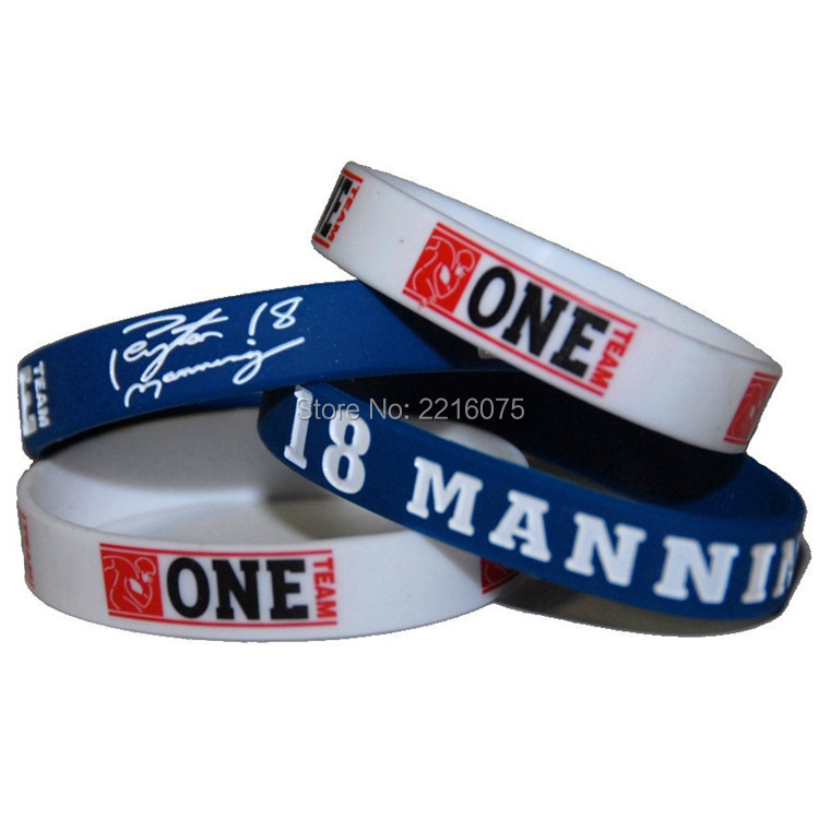300pcs One Team NFL Indianapolis #18 Peyton Manning wristband silicone bracelets free shipping by FEDEX express(China (Mainland))