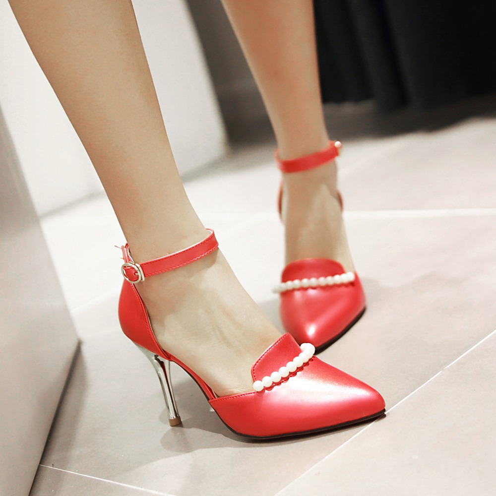 6 Colors Big Size Women Pumps Sexy Red Bottom Pointed Toe High Heels Shoes Woman 2016  Fashion Senior Beads Wedding Party Shoes