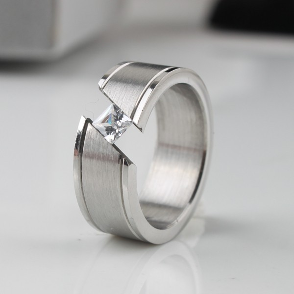 Wide 8mm Open Zircon Rings 316L Stainless Steel Wedding Rings For Men Finger Ring Free Shipping