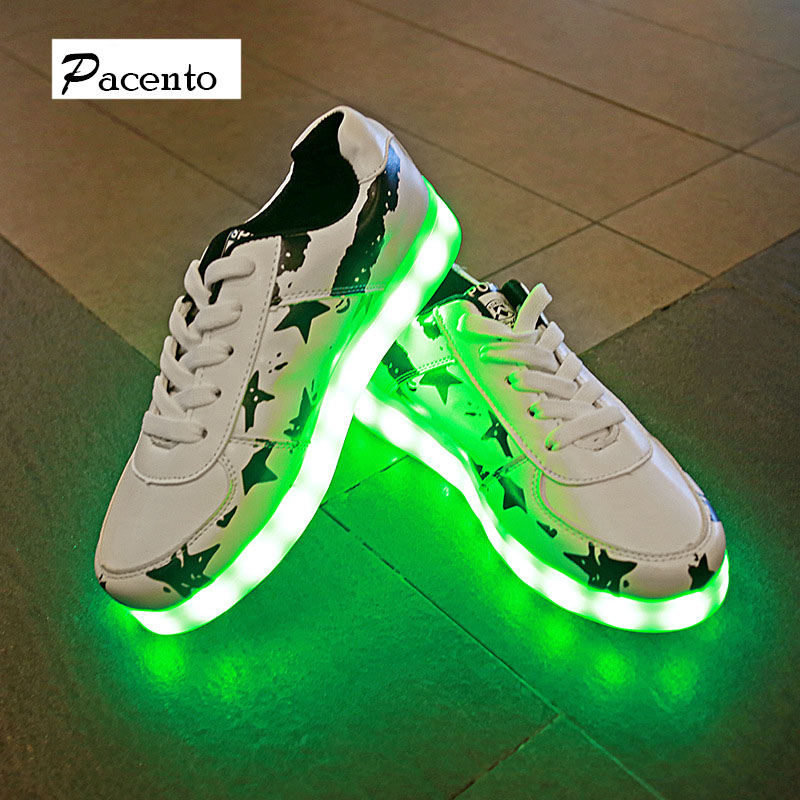 2016 PACENTO Light Up Men Women Led Unisex Shoes for Adults Fashion Couple Luminous Casual Shoes Outdoor Glowing Breathable Shoe(China (Mainland))
