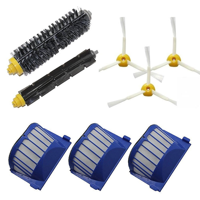 Free Ship rovac Filter+3 Arms Side Brush+Bristle and Flexible Beater Brush for iRobot Roomba 620 630 640 650 660(China (Mainland))