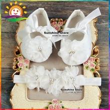 Ivory Christening Lace baby booties sapato bebe menina zapatillas festa baptism baby girl shoes Headbands set #2B1932 3 set/lot(China (Mainland))