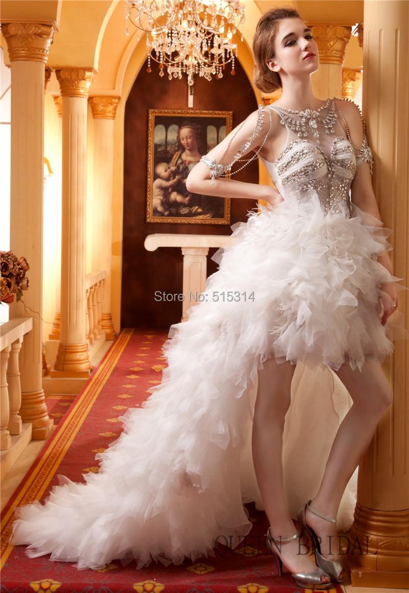 Роскошный кристалл паффи кот красный холтер высокий низкий свадебное платье съемная передняя короткие длинные назад свадебные платья свадебные платья BS15