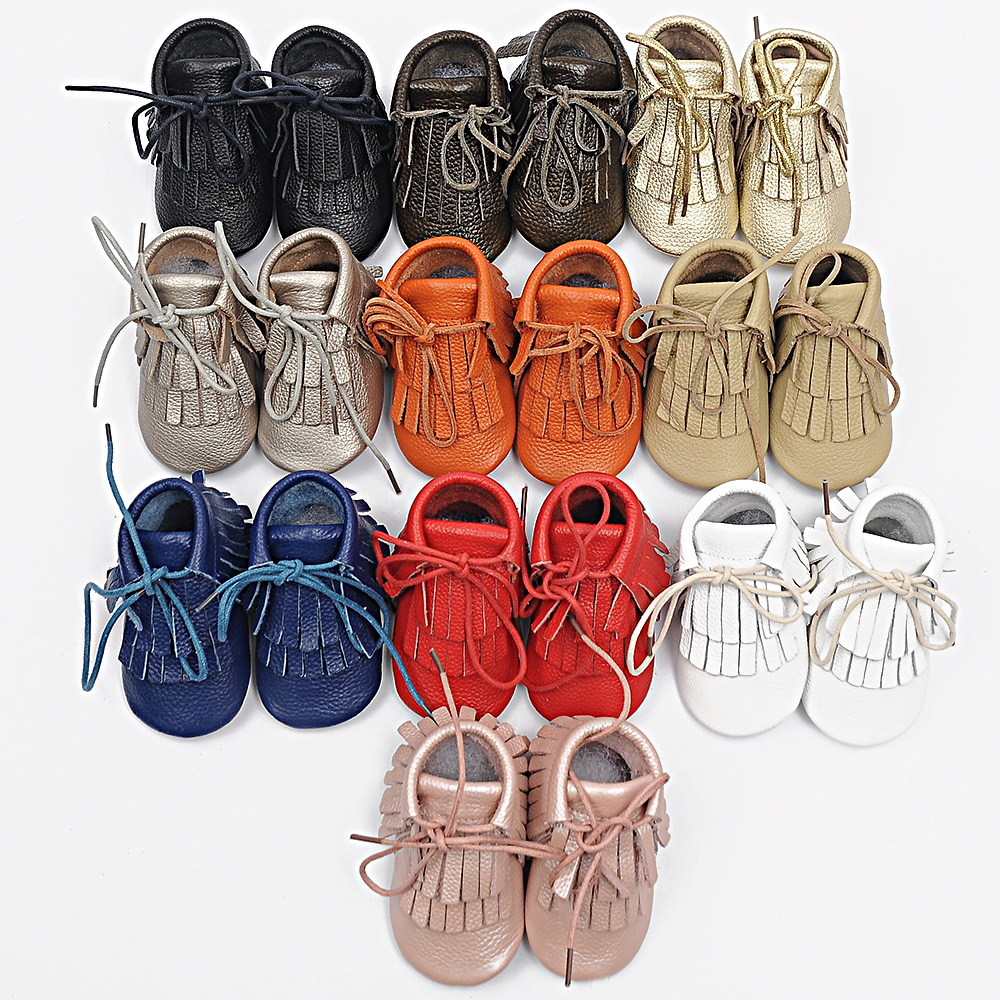 Handmade Genuine Leather Fringe Baby boots First Walkers lace-up baby moccasins gils boy Shoes 11.5-14.5CM Free shipping(China (Mainland))