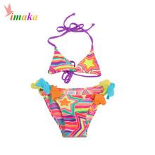 Summer Girls Swimwear Baby Kids Swimsuit E Biquini Bikini Infantil Two Pieces Swim Suit Costume Skirt Dress For 4-12 Years Old