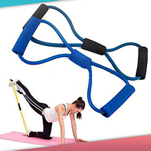 2015 New Resistance Training Bands Rope Tube Workout Exercise for Yoga 8 Type Fashion Body Fitness 66C2