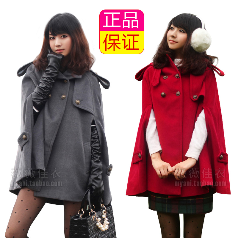 2013 autumn fashion wool coat autumn and winter with a hood cape cloak women's woolen outerwear(China (Mainland))